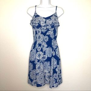 Elle blue floral ruffle mini dress with pockets